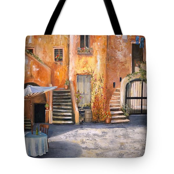 Tote Bag featuring the painting The Courtyard by Alan Lakin