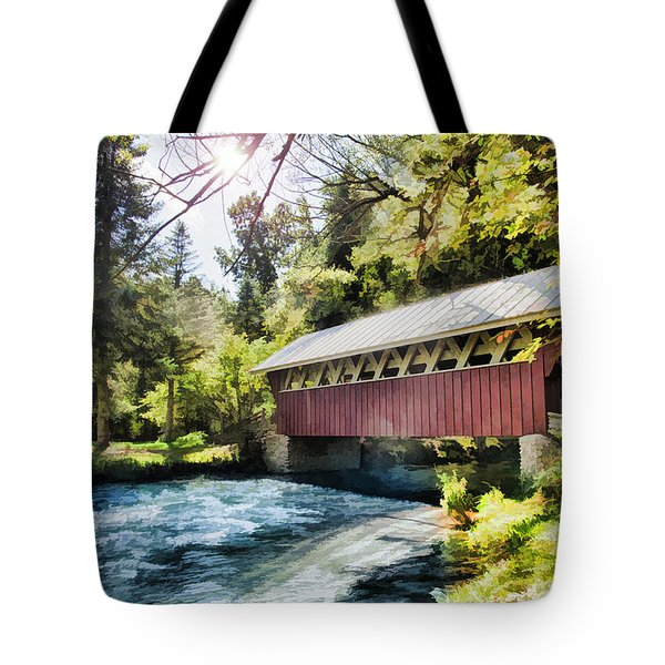 The Covered Bridge At The Red Mill Tote Bag