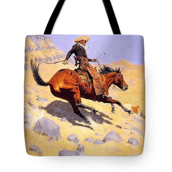 The Cowboy Tote Bag by Fredrick Remington