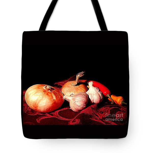 New Orleans Onions, Garlic, Red Chili Pepper Used In Creole Cooking A Still Life Tote Bag