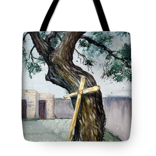 Da216 The Cross And The Tree By Daniel Adams Tote Bag
