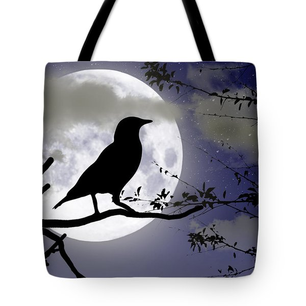 The Crow And Moon Tote Bag by Brian Wallace