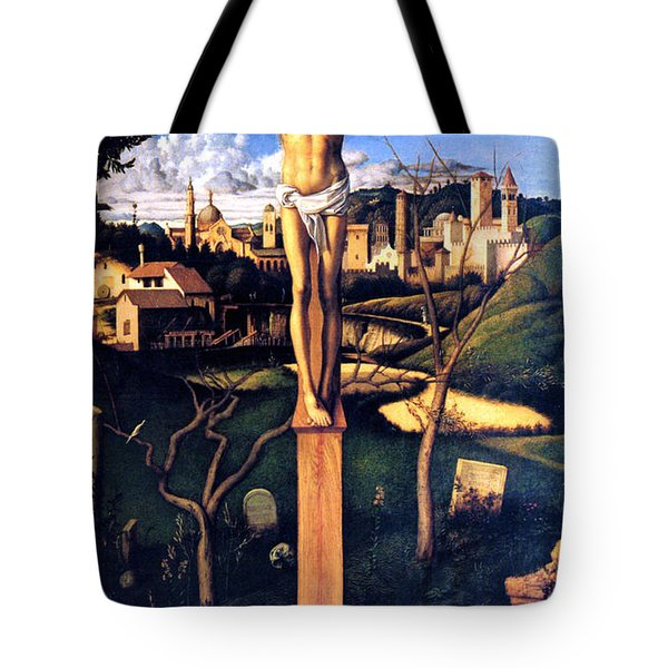 Tote Bag featuring the painting The Crucifixion 1503 Giovanni Bellini by Karon Melillo DeVega