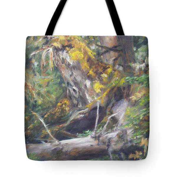 Tote Bag featuring the painting The Crying Log by Lori Brackett