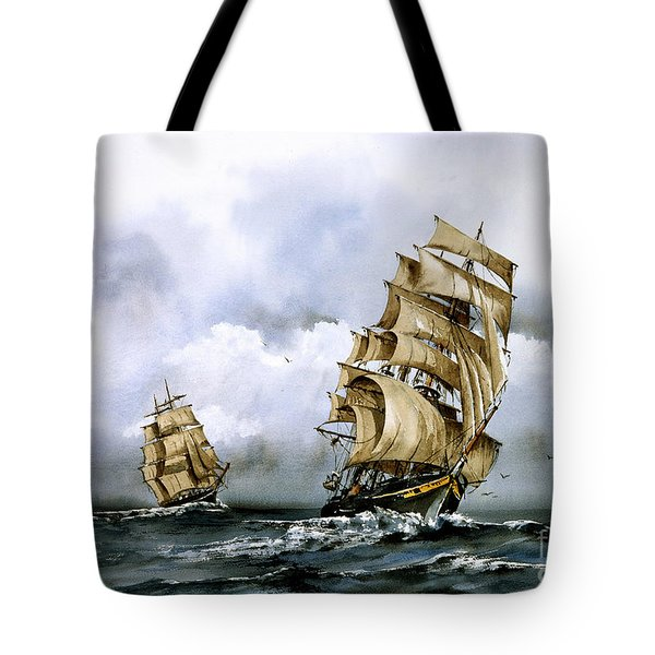 The Cutty Sark And The Red Clipper Tote Bag