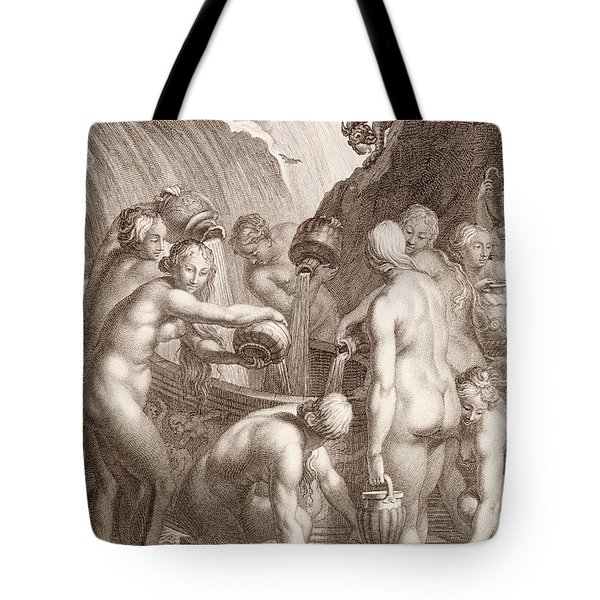 The Danaids Condemned To Fill Bored Vessels With Water Tote Bag by Bernard Picart