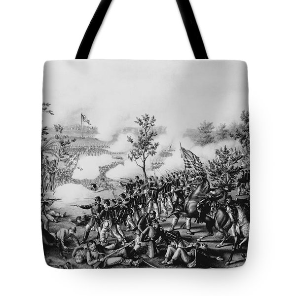 The Death Of General James B. Mcpherson At The Battle Of Atlanta, July 22nd, 1864, Pub. By Kurz & Tote Bag