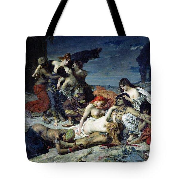 The Death Of Ravana Tote Bag by Fernand Cormon