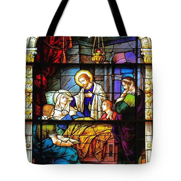 The Death Of St Monica St Augustine Tote Bag by Christine Till