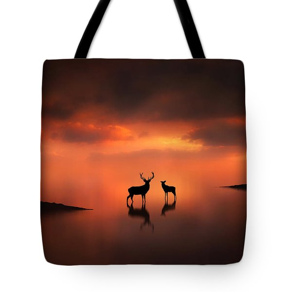 The Deer At Sunset Tote Bag