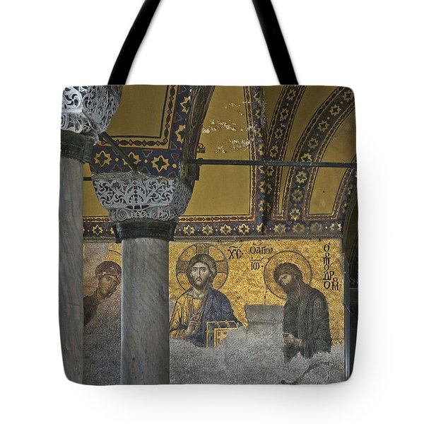 The Deesis Mosaic At Hagia Sophia Tote Bag by Ayhan Altun