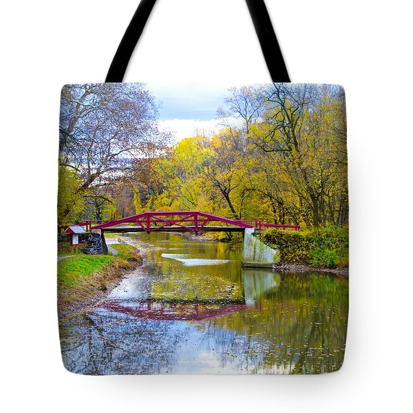 The Delaware Canal Near New Hope Pa In Autumn Tote Bag