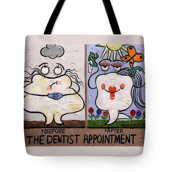 Tote Bag featuring the painting The Dentist Appointment Dental Art By Anthony Falbo by Anthony Falbo