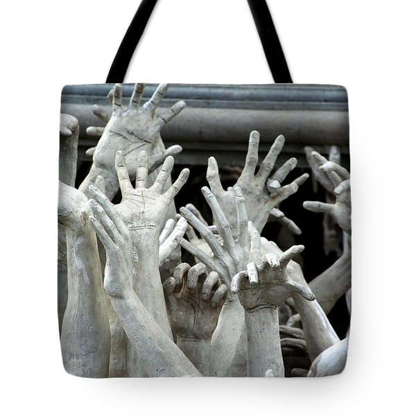 Tote Bag featuring the photograph The Descension Of The Consumer 2 by Nola Lee Kelsey