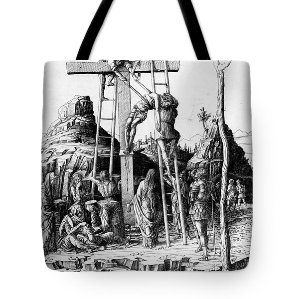 The Descent From The Cross Tote Bag by Andrea Mantegna