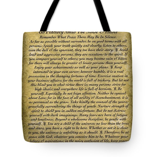 The Desiderata Poem On Antique Wallpaper Tote Bag