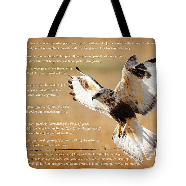 Tote Bag featuring the photograph The Desiderata With Hawk by Greg Norrell