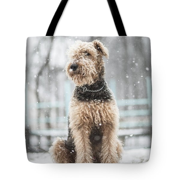 The Dog Under The Snowfall Tote Bag