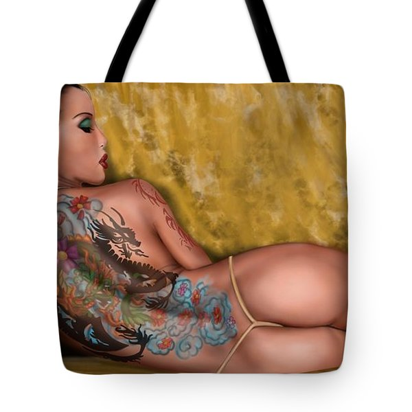 Tote Bag featuring the painting The Dragon by Pete Tapang