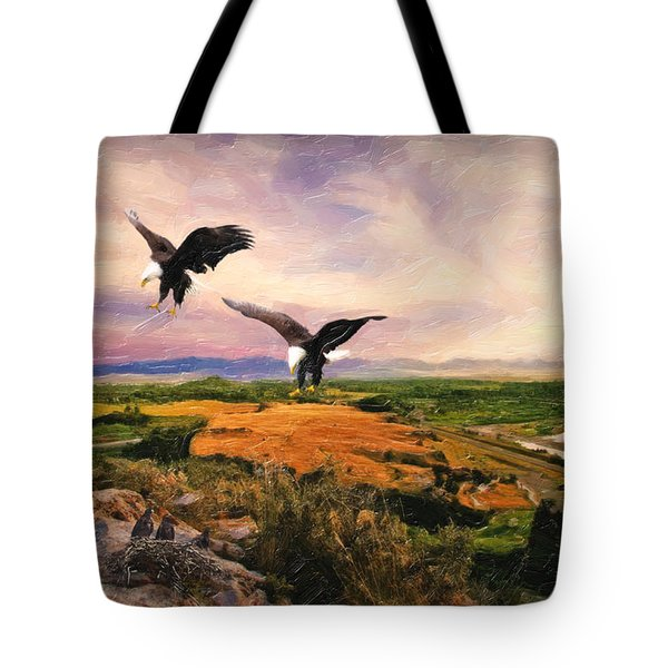Tote Bag featuring the digital art The Eagle Will Rise Again by Lianne Schneider