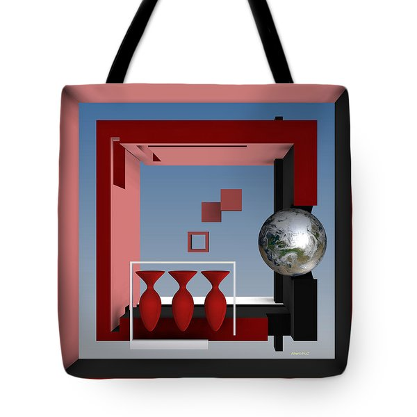 The Earth And Three Red Vases Tote Bag