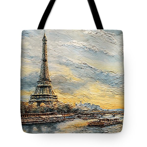 The Eiffel Tower- From The River Seine Tote Bag by Joey Agbayani
