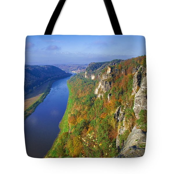 The Elbe Sandstone Mountains Along The Elbe River Tote Bag