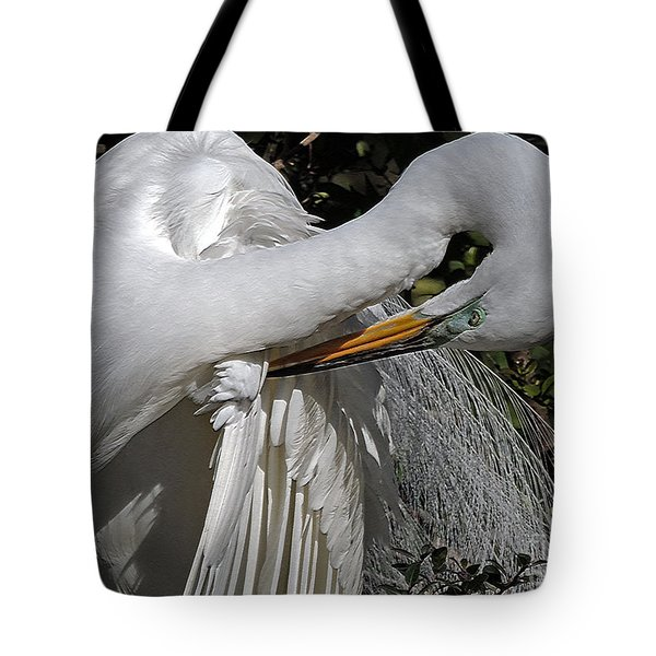 The Elegant Egret Tote Bag