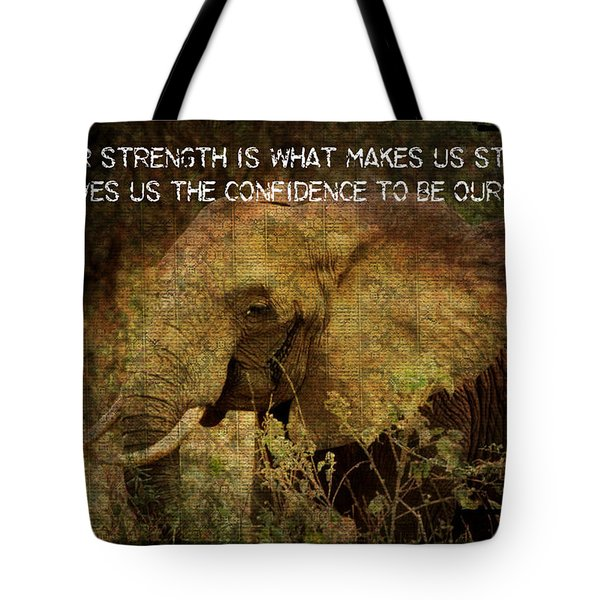 Tote Bag featuring the digital art The Elephant - Inner Strength by Absinthe Art By Michelle LeAnn Scott