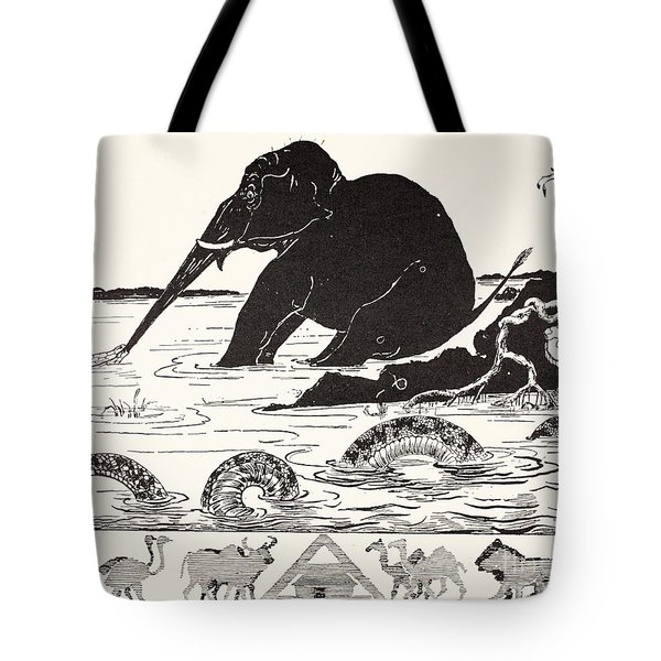 The Elephant's Child Having His Nose Pulled By The Crocodile Tote Bag