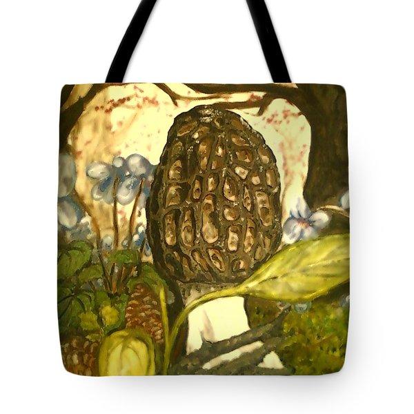 The Elusive Morel Among Violets Tote Bag