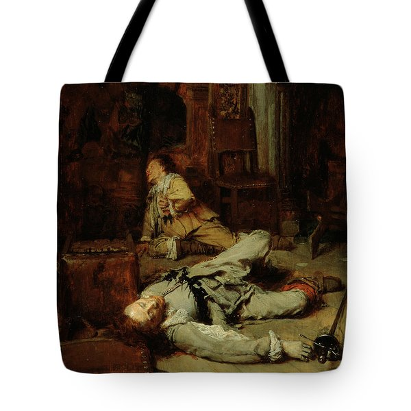 The End Of The Game Of Cards Tote Bag by Jean Louis Ernest Meissonier