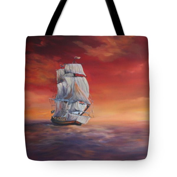 Tote Bag featuring the painting The Endeavour On Calm Seas by Jean Walker