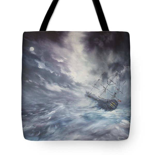 The Endeavour On Stormy Seas Tote Bag by Jean Walker