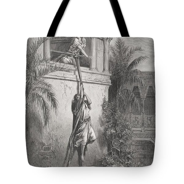 The Escape Of David Through The Window Tote Bag by Gustave Dore