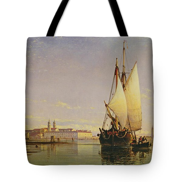 The Euganean Hills And The Laguna Of Venice - Trabaccola Waiting For The Tide Sunset Tote Bag by Edward William Cooke