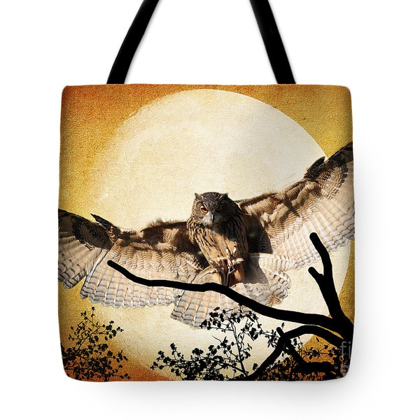 The Eurasian Eagle Owl And The Moon Tote Bag