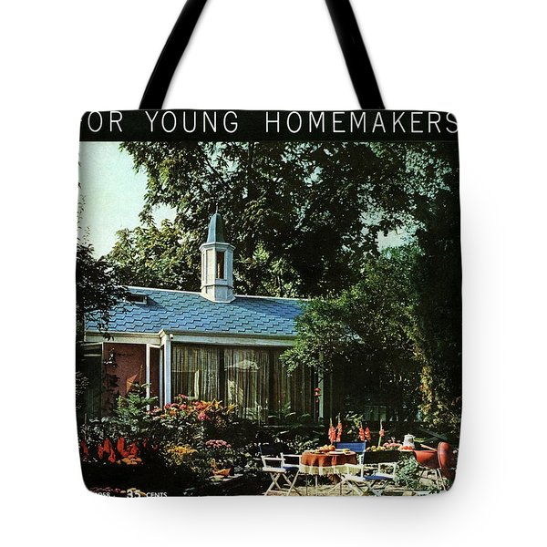 The Exterior Of A House And Patio Furniture Tote Bag