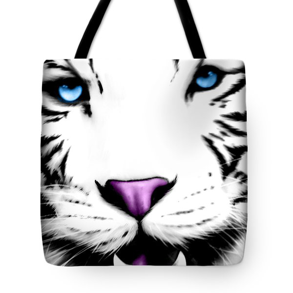 The Eye Of The White Tiger Tote Bag by Gina Dsgn