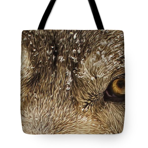 Tote Bag featuring the photograph The Eyes Of The Wolf  by Brian Cross