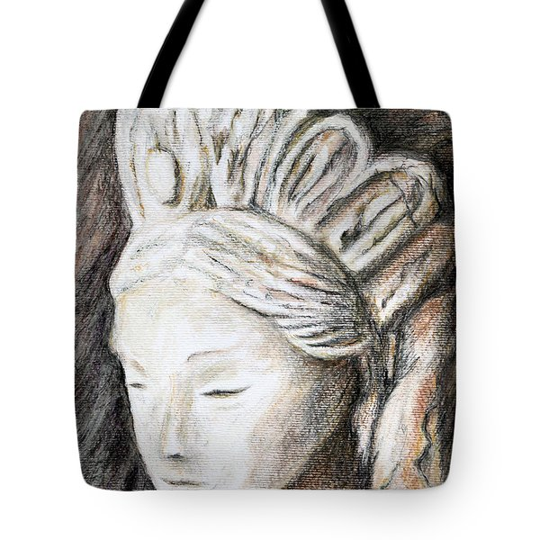 The Face Of Quan Yin Tote Bag by Danuta Bennett