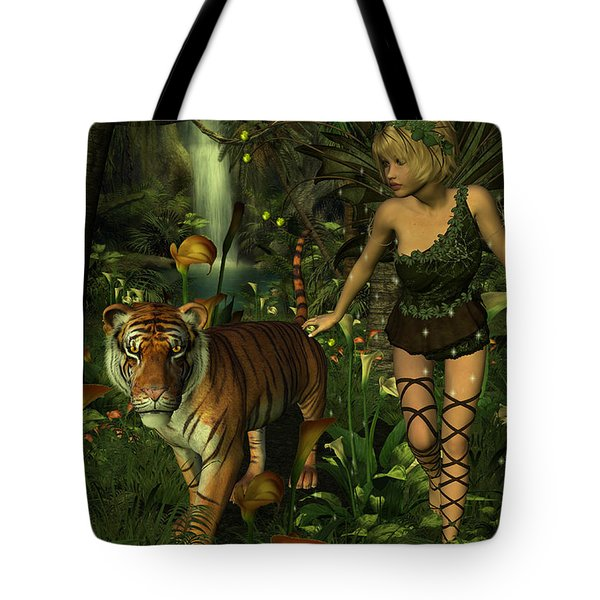 Tote Bag featuring the digital art The Fairy And The Tiger by Jayne Wilson