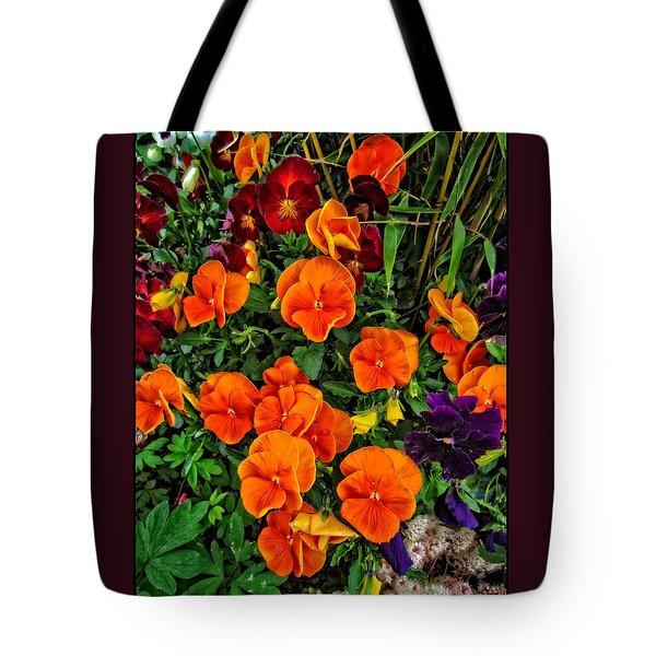 The Fall Pansies Tote Bag