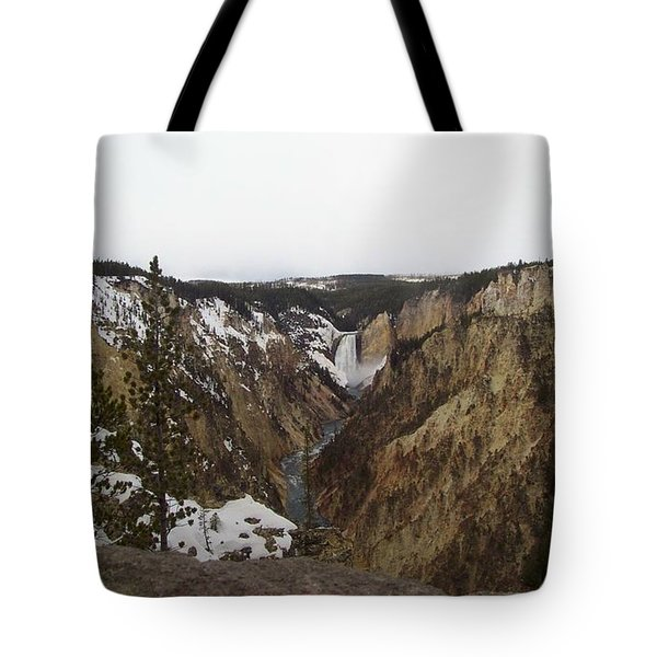 The Falls At Yellowstone Park Tote Bag