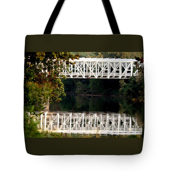 Tote Bag featuring the photograph The Falls Bridge by Christopher Woods