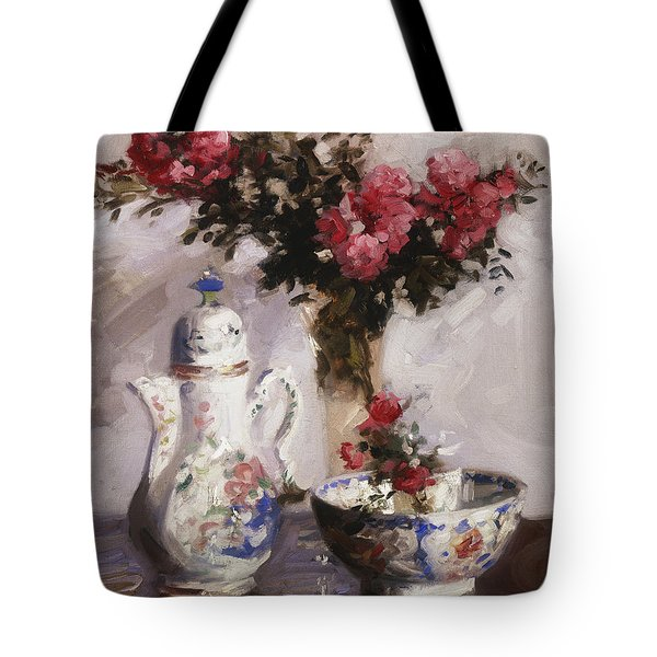 The Famille Rose Coffee Pot Tote Bag by Francis Campbell Boileau Cadell