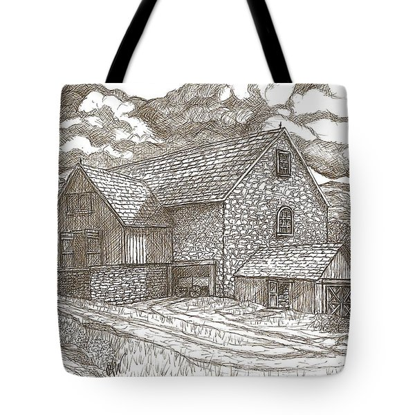 The Family Farm - Sepia Ink Tote Bag by Carol Wisniewski