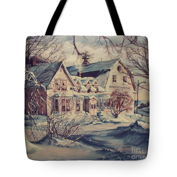 Tote Bag featuring the painting The Farm by Joy Nichols