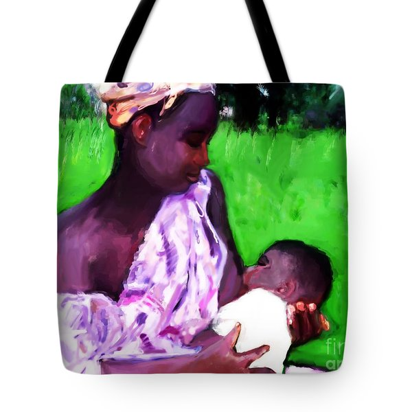 Tote Bag featuring the painting The Feeding 2 by Vannetta Ferguson