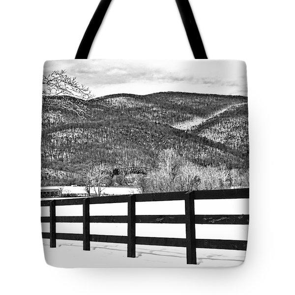 The Fenceline B W Tote Bag